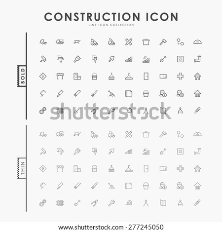 construction bold and thin outline icons - stock vector