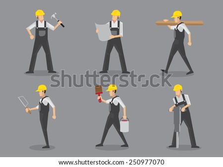 Construction builder in yellow helmet and overall work clothes working with building tools and equipment. Set of six vector character design isolated on grey background - stock vector