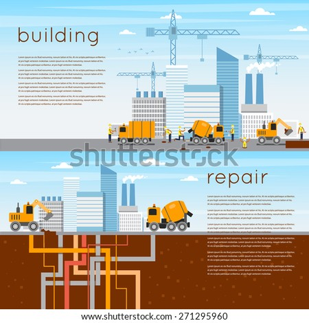Construction. Building a house, repair work. 2 banners. Flat icons vector illustration. - stock vector