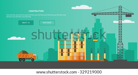 Construction, building a house - vector flat illustration. - stock vector