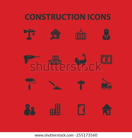 construction, building, architector flat isolated concept design icons, symbols, illustrations on background for web and applications, vector - stock vector