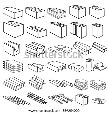 Construction building materials icons