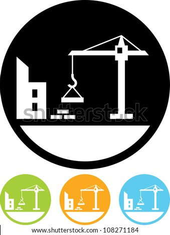 Construction building - Vector icon isolated - stock vector