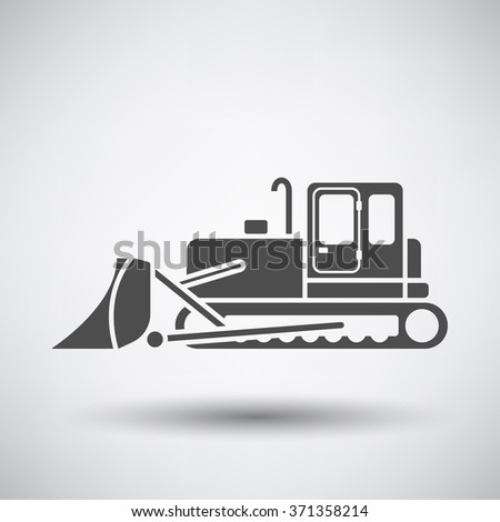 Construction bulldozer icon on gray background with round shadow. Vector illustration. - stock vector