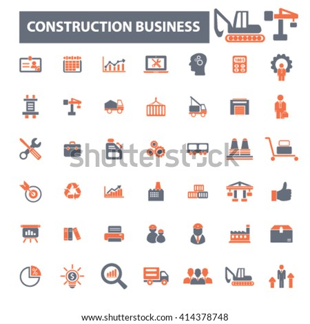 construction business icons  - stock vector