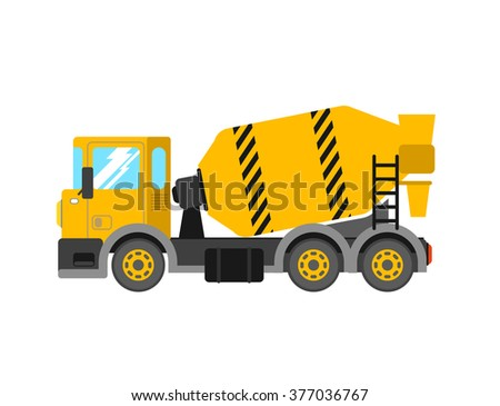 Construction cement mixer truck. Building concrete mixer car. Delivery concrete to construction. Concrete mixer truck vector illustration.