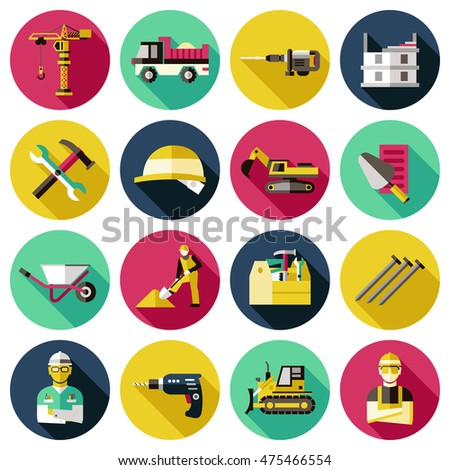 Construction circles icon set tools and machines for holding various repair work vector illustration