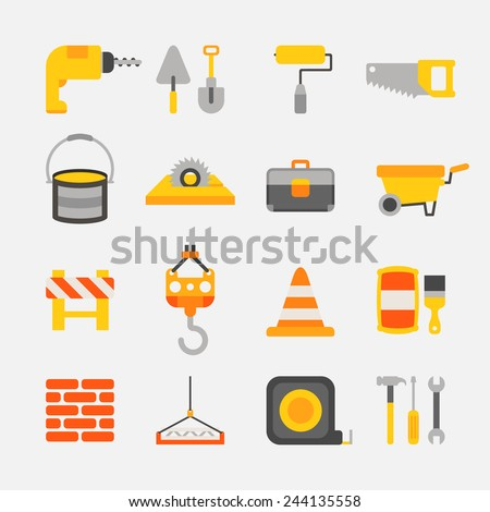 construction color icons on white background