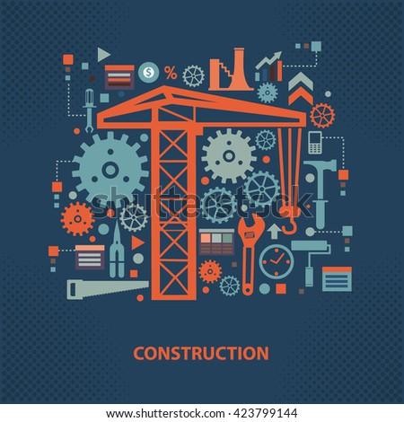 Construction concept design on dark background,vector - stock vector