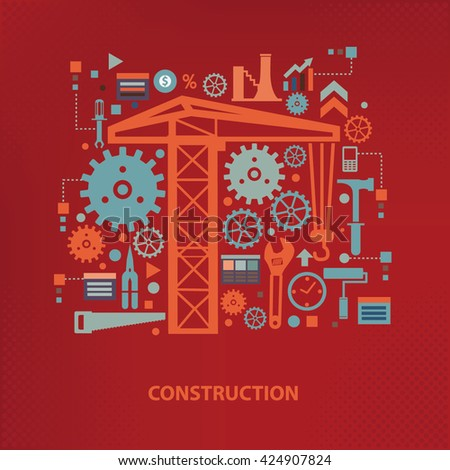 Construction concept design on red background,vector - stock vector