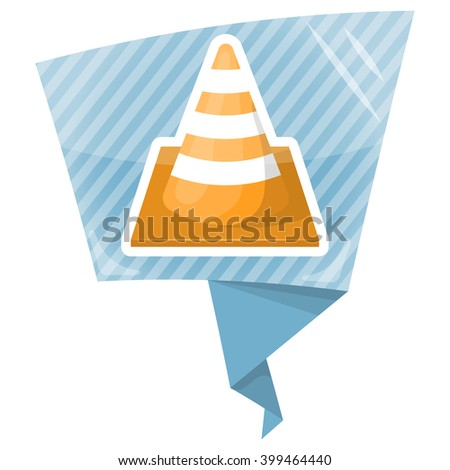 Construction cone colorful icon