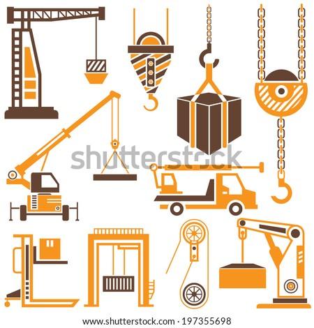 construction crane, industrial crane, hook - stock vector