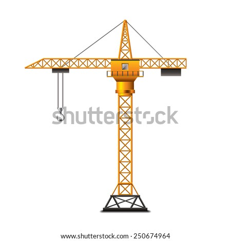 Construction crane isolated on white photo-realistic vector illustration - stock vector