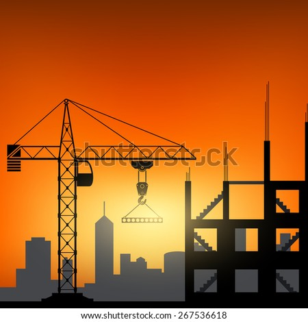 Construction cranes at sunset background. Vector image. - stock vector