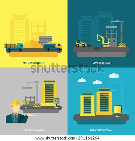 Construction design concept set with material delivery and facility engineer flat icons isolated vector illustration - stock vector