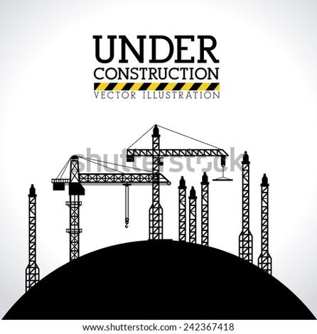 Construction design over white background, vector illustration. - stock vector