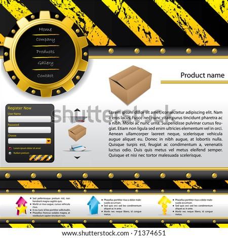 Construction design web template - stock vector