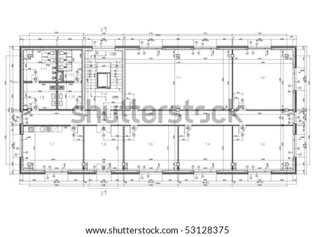 Construction drawing of an office building. Black and white vector illustration. - stock vector