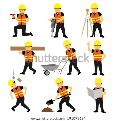 Construction Engineer Worker Builder Set - stock vector
