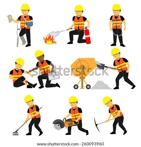 Construction Engineer Worker Builder Set Three - stock vector