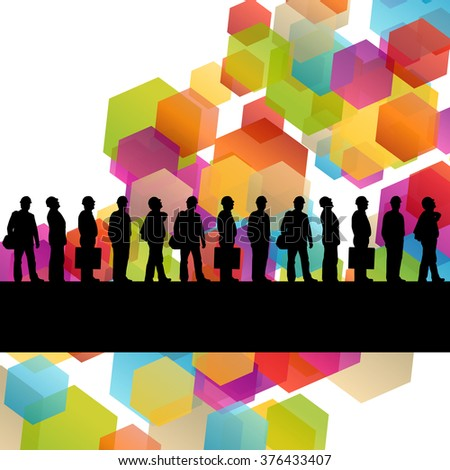 Construction engineer worker people silhouettes in active industrial business abstract background illustration vector