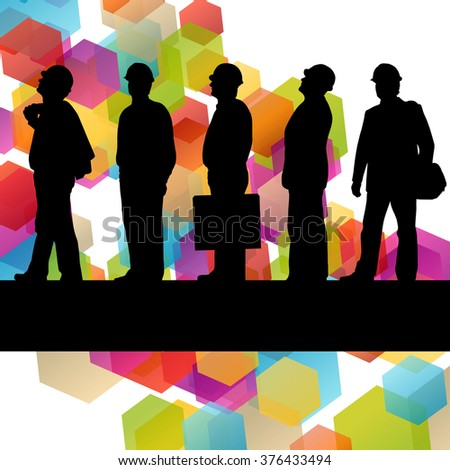 Construction engineer worker people silhouettes in active industrial business abstract background illustration vector - stock vector