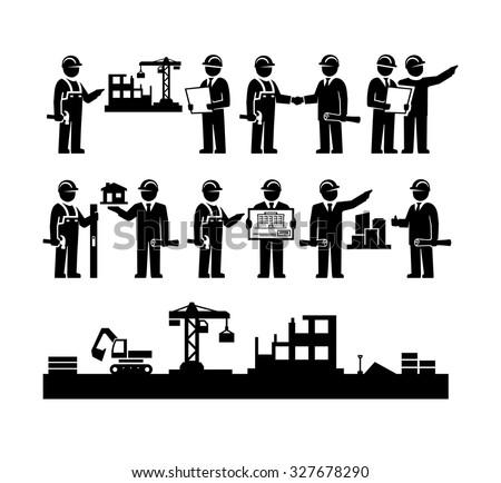 Construction Engineering Industrial Workers Project Manager Vector Icons  - stock vector