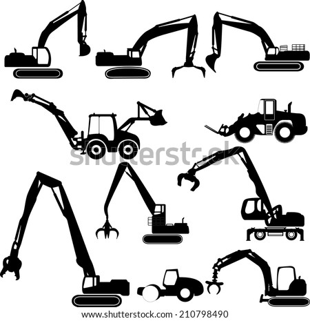 Construction equipment collection white background  - stock vector