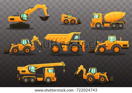 Construction Equipment Isolated Vector Illustrations Set Stock