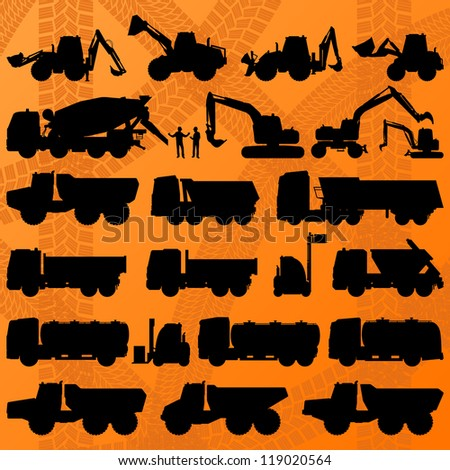Construction excavator, truck and concrete mixer truck detailed industrial machinery silhouettes illustration collection background vector - stock vector
