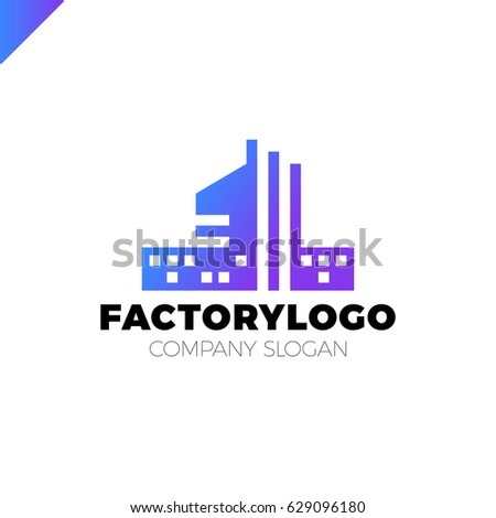 Construction Firm Factory Manifacture Logo Apartment Stock Vector