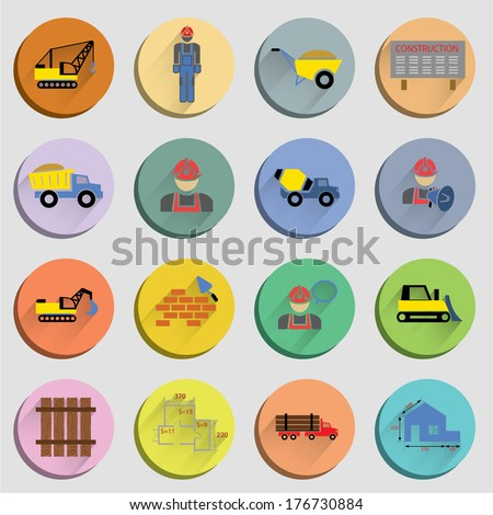 Construction flat icons set of site crane truck and mixer isolated vector illustration - stock vector