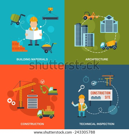 Construction flat icons set with building materials architecture technical inspection isolated vector illustration - stock vector