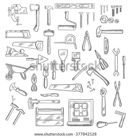 Construction hand tools icons of hammer and axe, saws and wrench, screwdrivers and scissors, trowel and spatula, paintbrush, roller, knives, fastener, pliers, toolbox, blueprint, wheelbarrow and ruler - stock vector