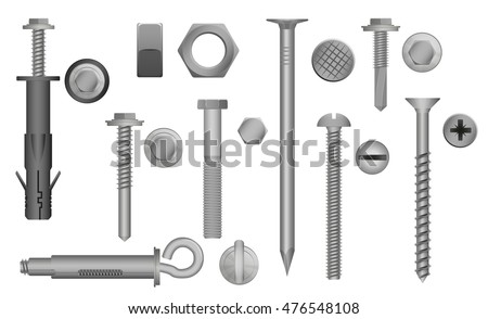 Construction Hardware set Bolts, Screws, Nuts and Rivets. vector illustration of Metal fix gear elements