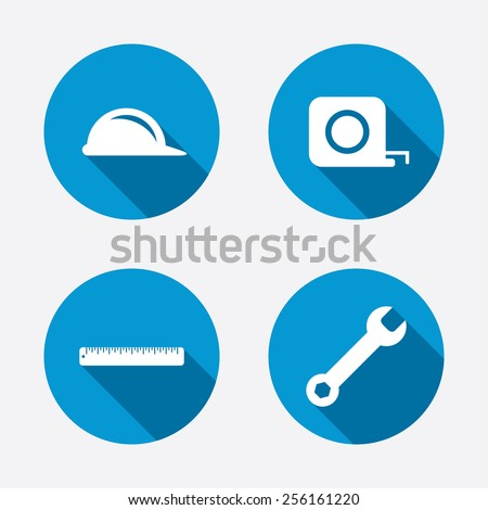 Construction helmet and wrench key tool icons. Ruler and tape measure roulette sign symbols. Circle concept web buttons. Vector - stock vector