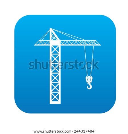 Construction icon on blue button, clean vector - stock vector