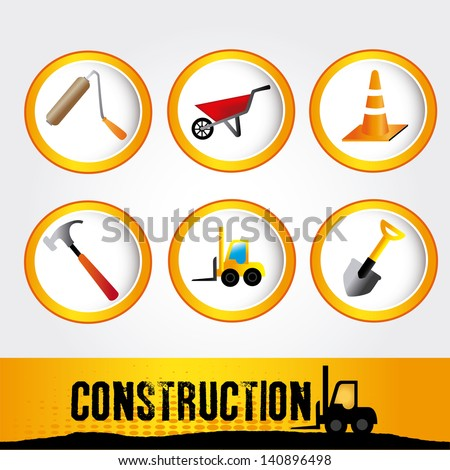construction icon over gray background vector illustration - stock vector