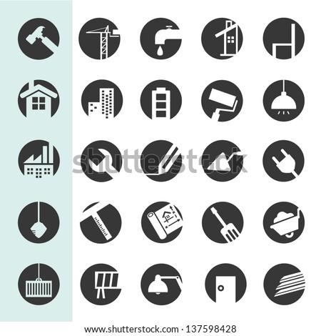 construction icon set, web icon button set - stock vector