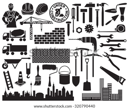 construction icon set (wheelbarrow, hammer, nail, construction mason worker with brick and trowel, shovel, traffic cone, hard hat, cranes, silhouette of the city, brick wall) - stock vector