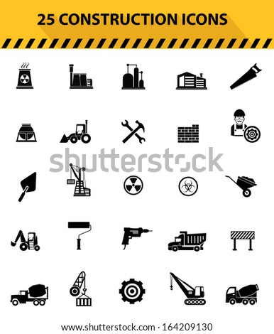 Construction icons,Black icons,White background version,vector - stock vector