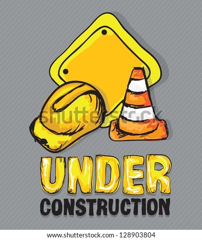 Construction Icons (Hard cap, traffic cones), Vector illustration
