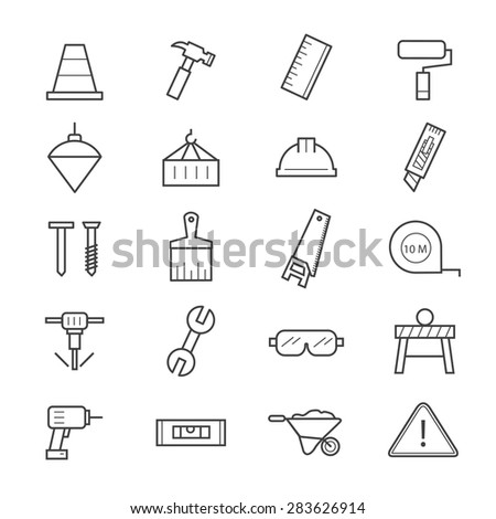 Construction Icons Line - stock vector