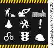 construction icons over black background. vector illustration - stock photo