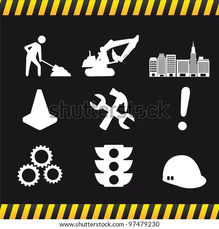construction icons over black background. vector illustration - stock vector