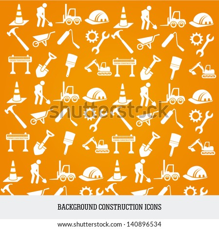 construction icons over orange background vector illustration - stock vector