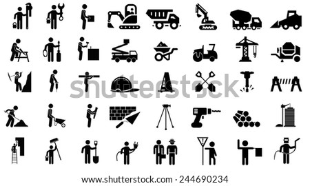 Construction icons, set, collection - stock vector
