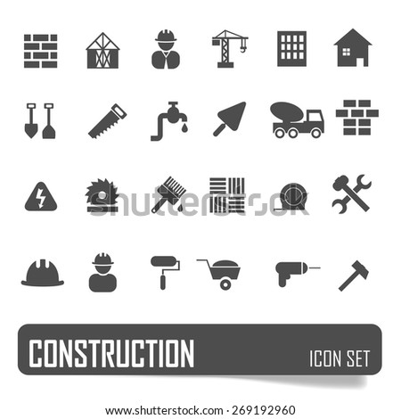 Construction icons set on white background, stock vector - stock vector