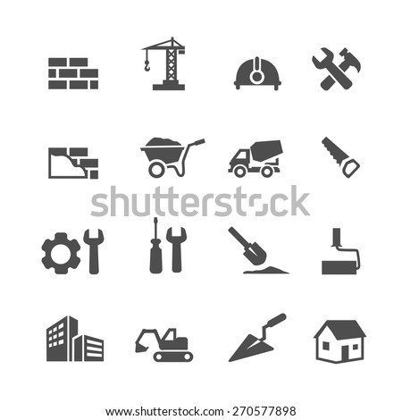 Construction Icons Set on White Background.  Vector illustration - stock vector