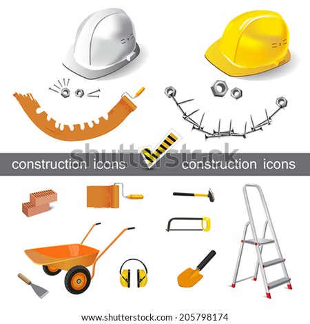 construction icons set vector smile - stock vector